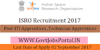 Indian Space Research Organization Recruitment 2017– 139 ITI Apprentices & Technician Apprentices