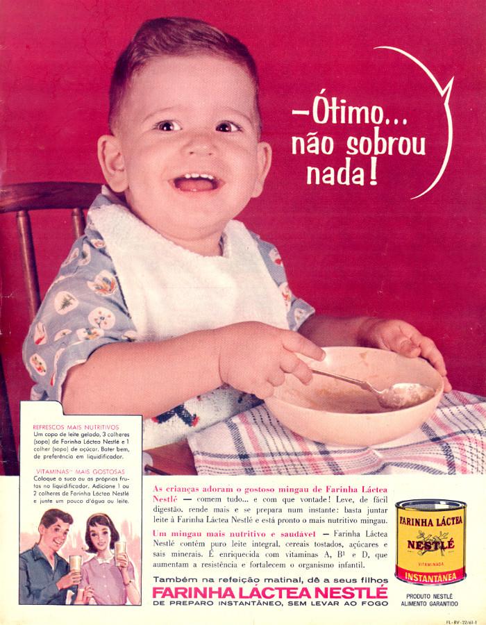 Propaganda dos anos 60 da Farinha Láctea Nestlé indicando alimentação para crianças e adolescentes