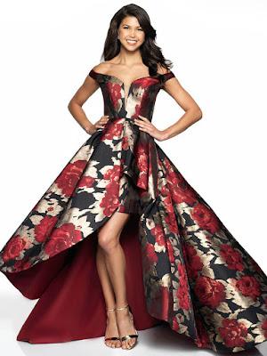 Off the shoulder brocade flair prom dress black& Red color