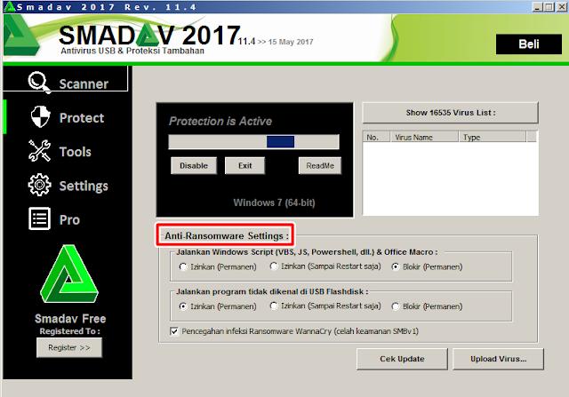 Smadav menyediakan alat untuk mencegah virus Ransomware WannaCry melalui celah SMBv1