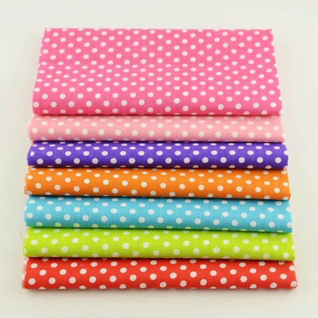 7 PCS Mixed 100% Plain Cotton Fabric Fat Quarters Bundle Tildas for Quilting Meter Fabric Square Sewing Patchwork Dots Design
