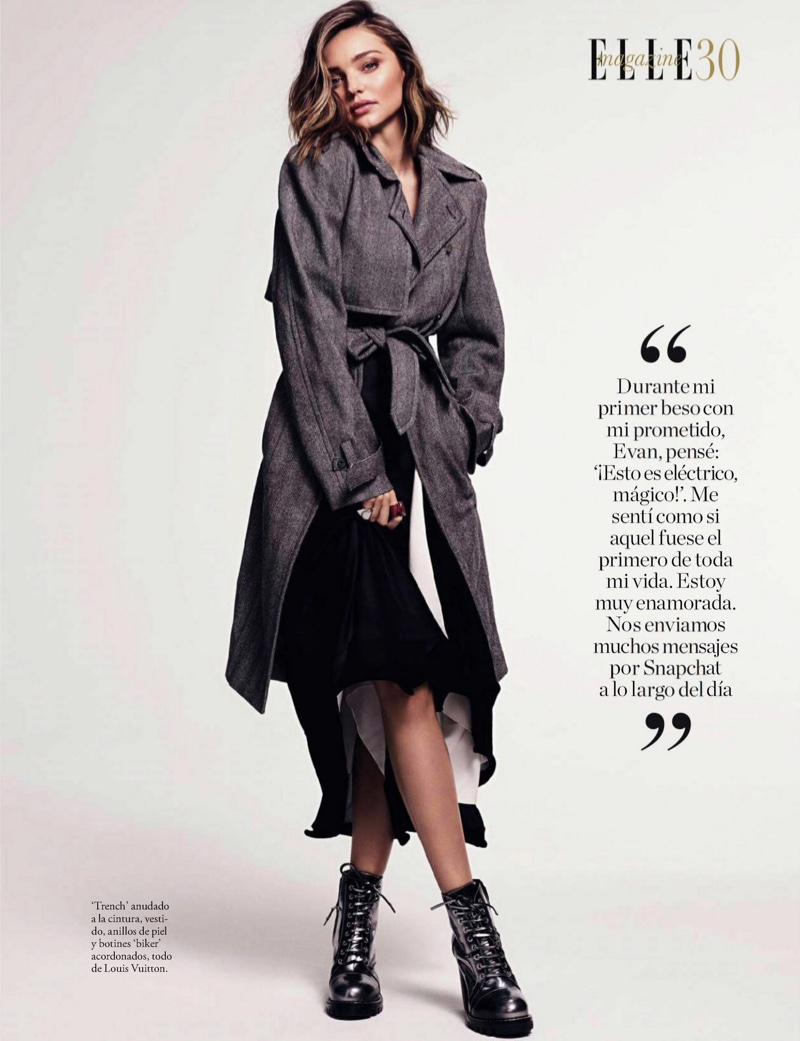 Wearing a trench coat, Miranda Kerr layers up in Louis Vuitton look