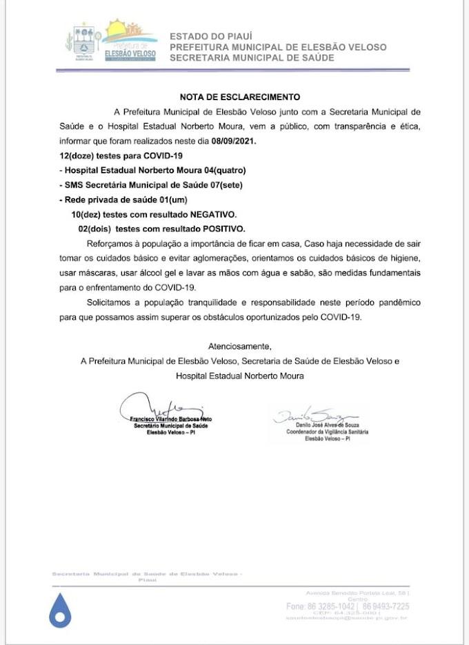 Surgem mais dois casos do novo coronavírus em Elesbão Veloso