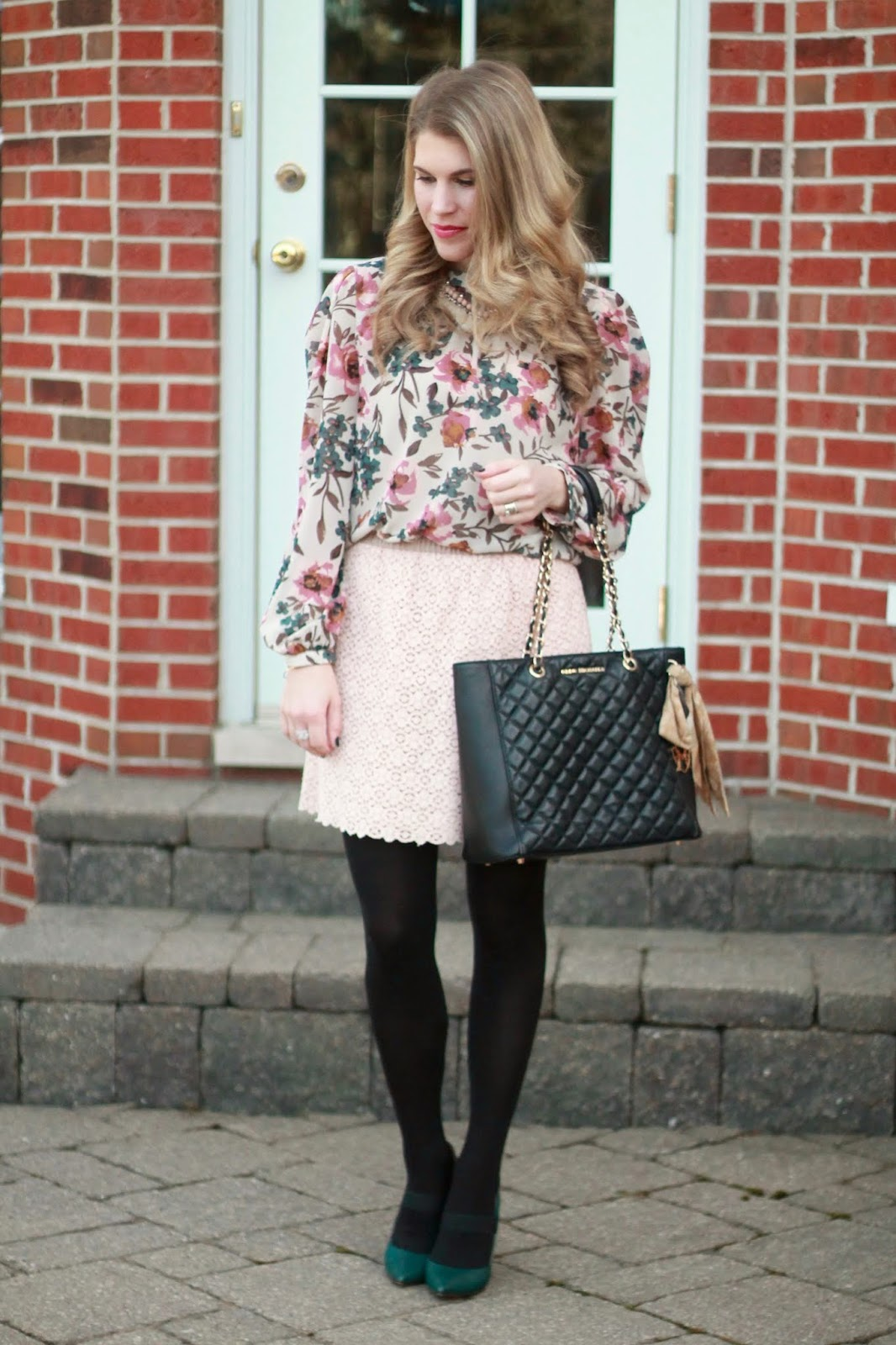 blush floral blouse, green pumps, pink lace skirts, black leather quilted tote