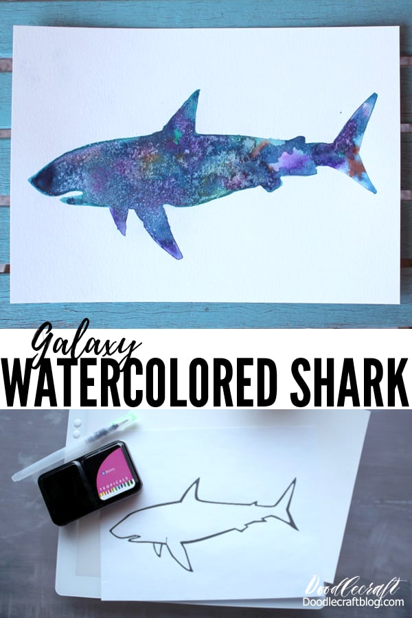 How to make a Galaxy Painted Shark Silhouette with Watercolors DIY