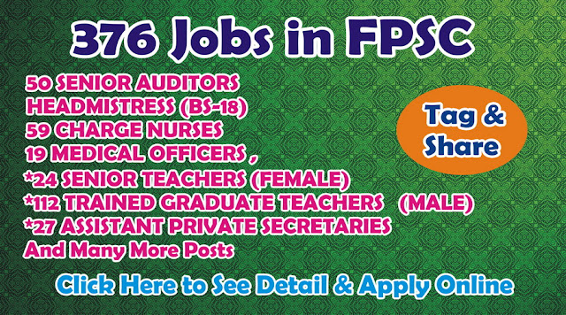Jobs in Pakistan Federal Public Service Commission Jobs  2016