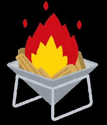 焚き火台のイラスト(火が付いた状態)