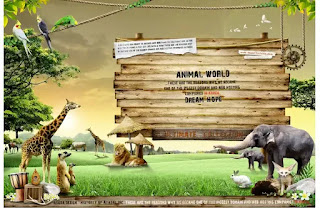 plantilla de fondo de paisaje de zoológico para fotomontajes