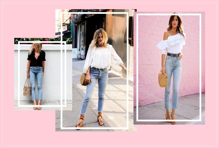 bolsa de palha com calça jeans