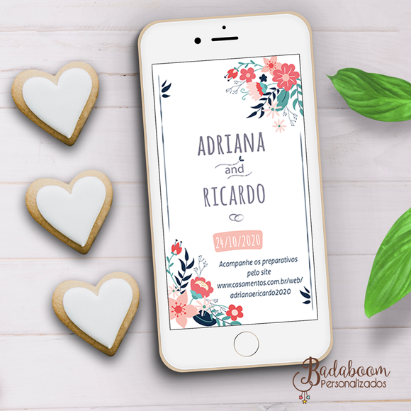 casamento, save the date, floral, azul, rosa, arte digital, whatsapp