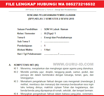 GAMBAR RPP KELAS 3 K13 TEMA 6 REVISI 2018 SEMESTER 2