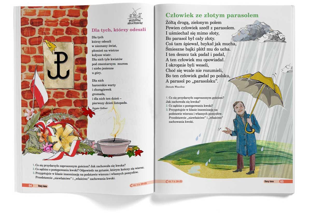 ilustracja dla dzieci nowa era Urbaniak ilustratorka dla tych którzy odeszli ze złotym parasolem pastel crayon illustration for child book story poems