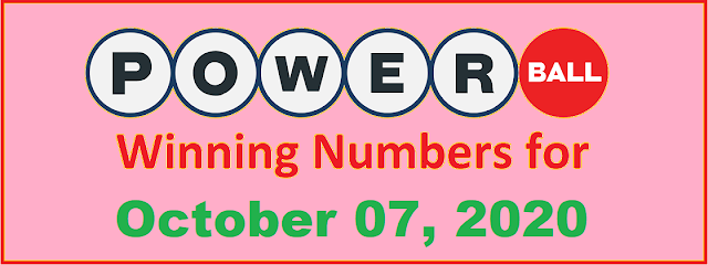 PowerBall Winning Numbers for Wednesday, October 07, 2020