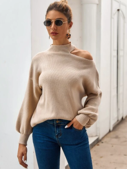 Khaki cut out shoulder sweater