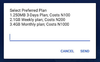 Screenshot showing the MTN Welcome Back data plans, 250MB three days plan cost 100 Naira, 1GB weekly plan costs 200 Naira and 4GB monthly plan cost 1000 naira