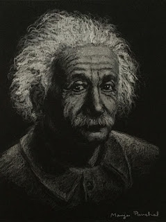 A portrait study of Albert Einstein on Strathmore Artagain paper using white pastel pencil
