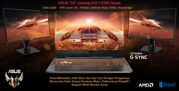 layar display ASUS TUF Gaming A15 FX506 1280 x 1080