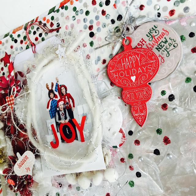 Joy To The World Mixed Media Layout by Angela Tombari using BoBunny Merry & Bright collection