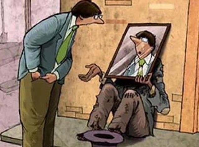 Funny Spare Change Cartoon Mirror Picture