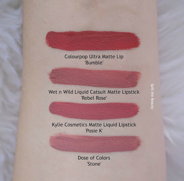 kylie cosmetics matte liquid lipstick posie k swatches comparison dupe colourpop dose of colors wet n wild