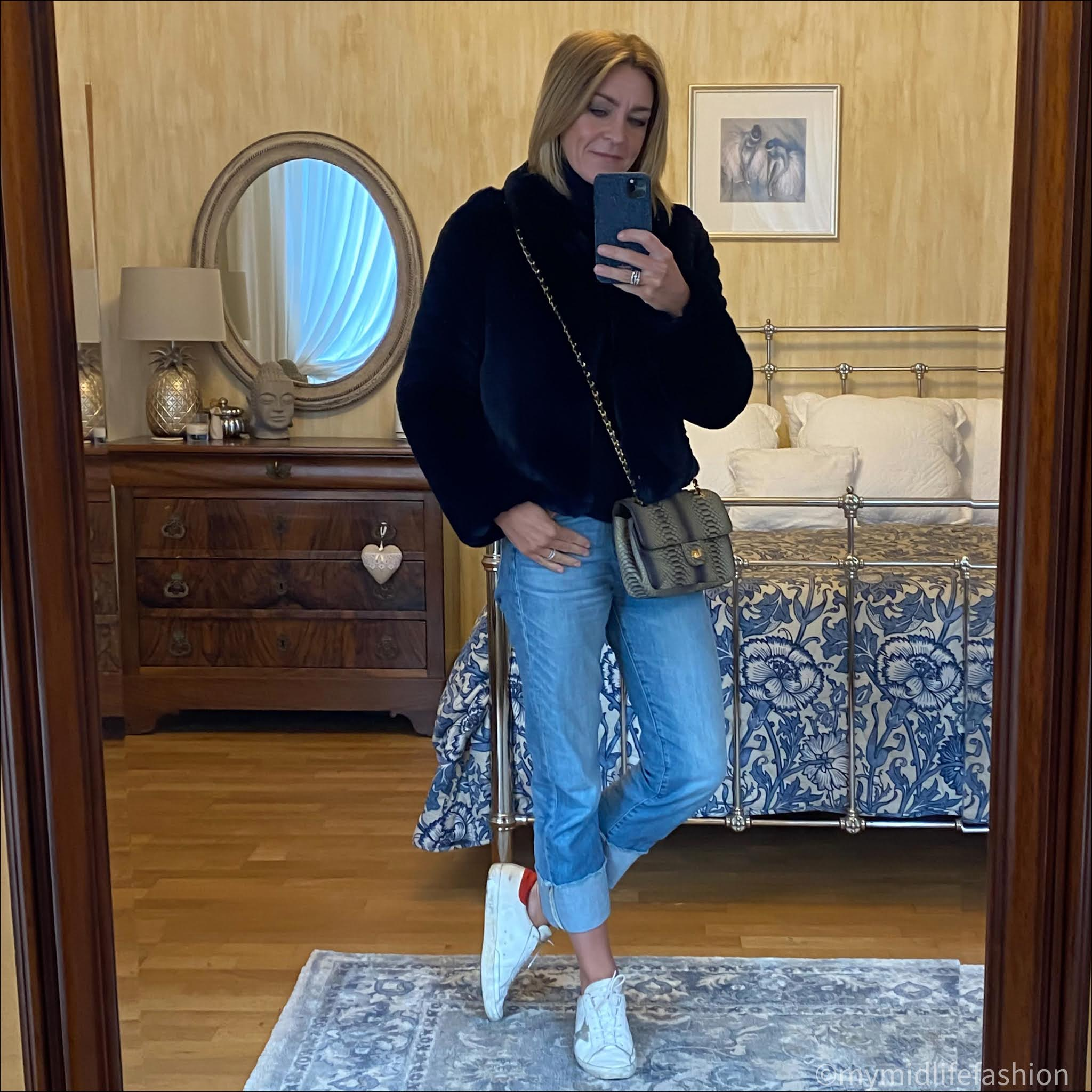 my midlife fashion, Helen Moore faux fur jacket, marks and Spencer pure cashmere roll neck jumper, snakeskin cross body bag, j crew turn up jeans, golden goose superstar low top leather trainers