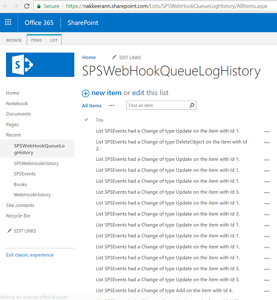 Processed Webhook Changes stored on SharePoint list