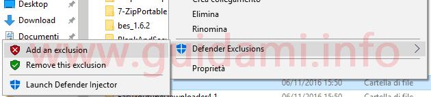 Defender Injector opzioni nel menu contestuale