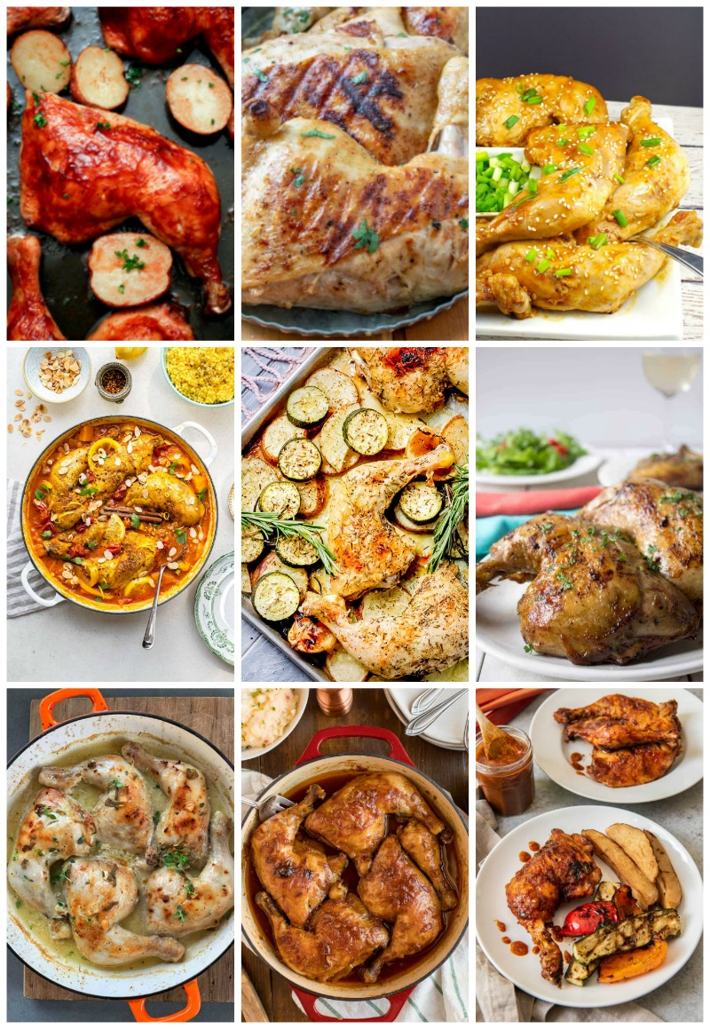 Are you looking for some bone-in chicken recipes? This roundup includes recipes for bone-in breasts, thighs, leg quarters, drumsticks, wings, and even whole chicken recipes! #boneinchicken #chickenrecipes #chicken