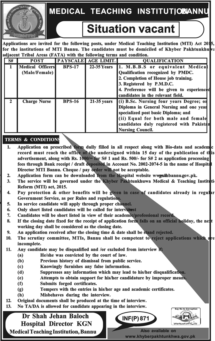 Medical Teaching Institution Bannu Jobs 2018