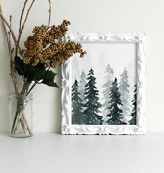 elise engh studios holiday home decor ideas decorate with watercolor winter forest paintings watercolor winter forest paintings