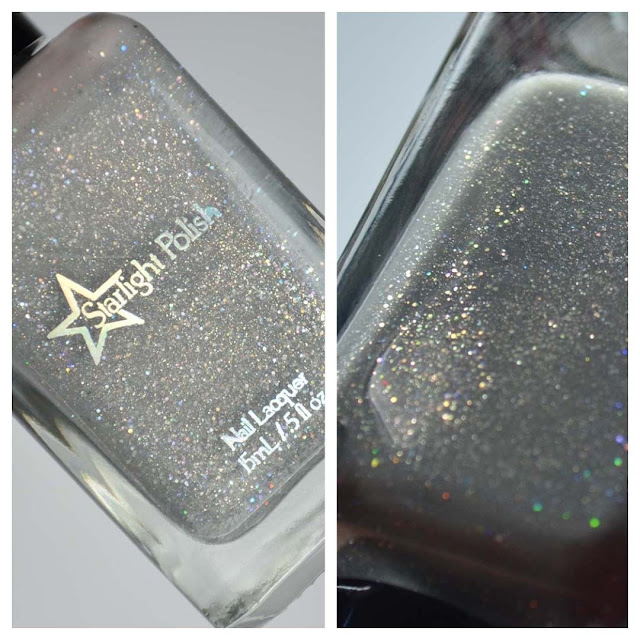 grey nail polish with holographic glitter in a bottle