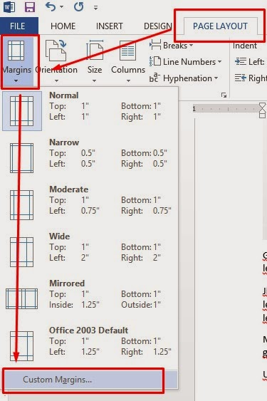 menu margin ms word - margin untuk print