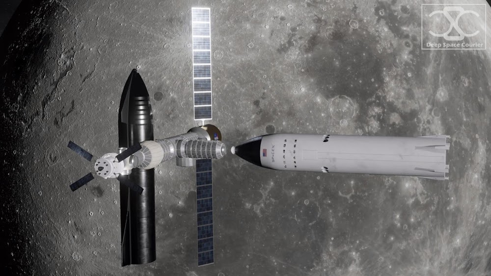 SpaceX Starship and Lunar Starship docked to Lunar Orbital Gateway by DeepSpaceCourier