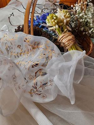 top de mariée en organza  peint à la main, D'Ors et de Soie