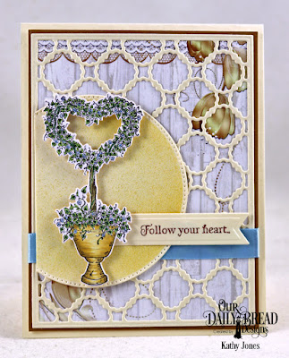Our Daily Bread Designs Stamp Set: Happy Wedding Day, Paper Collection: Wedding Wishes, Custom Dies: Heart Topiary, Scalloped Chain, Pierced Circles, Pennant Flags