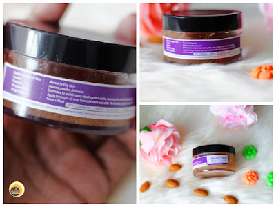 packaging of Aroma Essentials Almond Exfo Review for normal to dry, combination skin