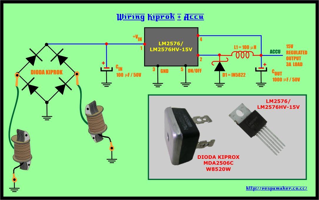 skema rangkaian regulator rectifier atau kiprok untuk