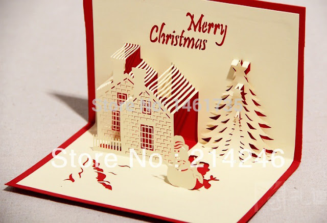 Creative-Christmas-postcards-3D-greeting-card-handmade-christmas-cards-fancy-gift-children-s-gift-free-shipping