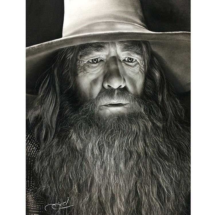 06-Ian-Mckellen-Gandalf-The-Grey-aymanarts-Realistic-Drawings-of-Celebrities-and-Other-www-designstack-co