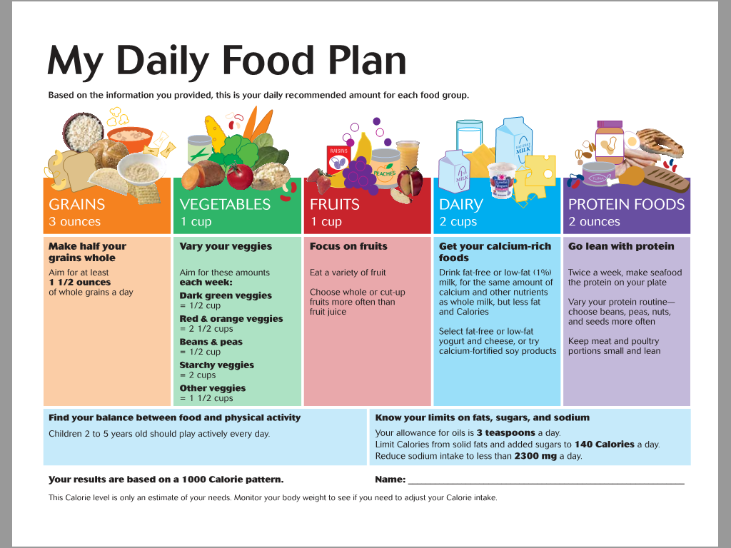 daily food plans worksheets nutritionist clinic