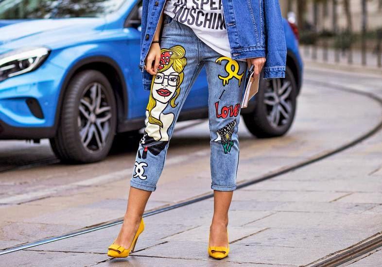 Jeans ostentação com a tendência artsy
