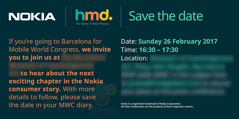 The leaked invite of Nokia at MWC 2017!