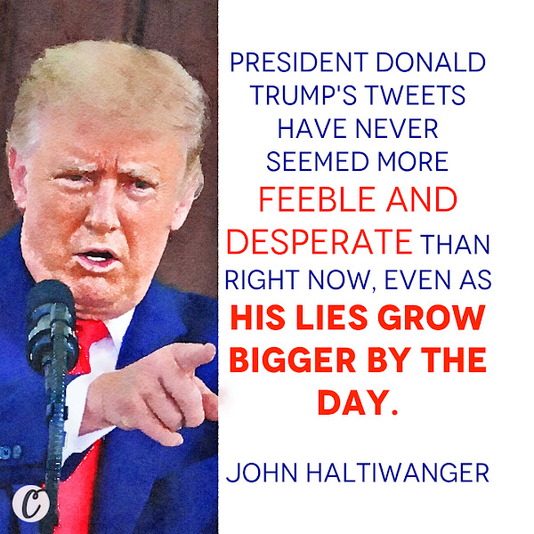 President Donald Trump's tweets have never seemed more feeble and desperate than right now, even as his lies grow bigger by the day. — John Haltiwanger, Senior Politics Reporter at Business Insider