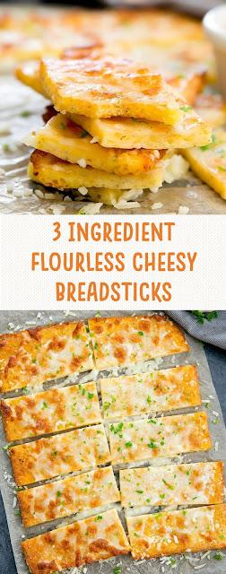 3 Ingredient Flourless Cheesy Breadsticks