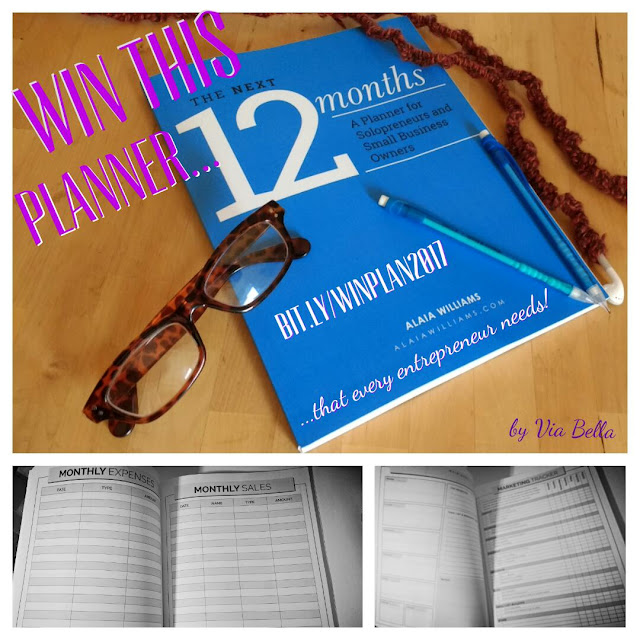 Win This Planner that Every Entrepreneur Needs!, Giveaway, Bloggers, Product Review, Entrepreneur, 12 months, goals, year, Via Bella, Alaia Williams