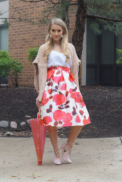 chicwish floral skirt