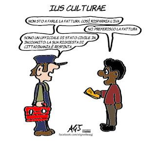 ius culturae, ius soli, integrazione, immigrati, fattura, cultura, cittadinanza, vignetta, satira