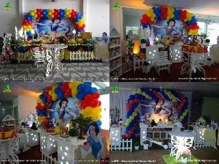Decoração mesa de aniversário Branca de Neve - Festa infantil
