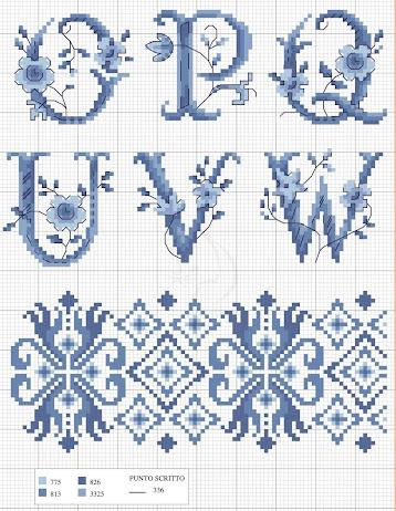 Alfabeto e monogrammi blu a punto croce scarica free