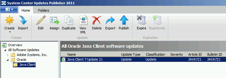 Java Client Updates Deployment using WSUS/SCCM/SCUP from an